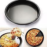 Antihaft-Backblech, Pizza-Pfanne, rund, tief, für den Ofen, aus eloxierter Aluminiumlegierung, Schwarz , 23 cm