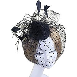 WINOMO mujeres novia boda tocado de plumas velo pelo partido cóctel sombrero Derby Sombrero Clip de pelo aro