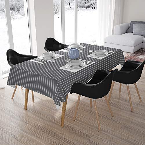 Encasa Homes, tovaglia per Tavolo da Pranzo da 4 a 6 posti, Tinta Unita, Grey Stripes, 142x180 cm