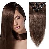 Echthaar Clip in Extensions günstig Haarverlängerung 8 Tressen 18 Clips Remy Human Hair 45cm-70g(#4 Schokobraun)