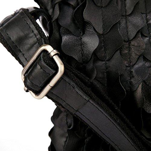 ZPFME Handtaschen Der Frauen Damebeutel Schulterbeutel Mädchen Partei Retro Damen Art Und Weise Kurierbeutel Art Und Weise Schlagfarbe Black