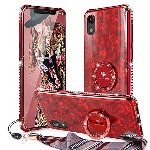 OCYCLONE iPhone XR Case, Cute Glitter gehärtetes Glas Zurück + Bling Diamond Strass Bumper mit Ring Ständer für iPhone XR Protective Phone Case für Damen Mädchen - Rot (Iphone Cute Cases)
