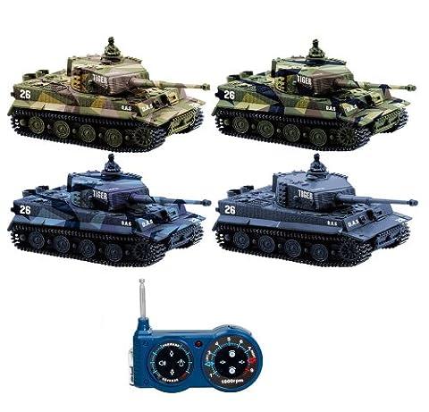 2x GERMAN TIGER I BATTLE-SET - RC R/C mini ferngesteuerter Panzer, Tank, Kettenfahrzeug, Schuss, Sound, Licht, Neu, 1:72, Schusssimulation Sound, Beleuchtung, Neu