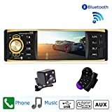 Camecho 1 Din Autoradio Audio Stereo Bluetooth 4 Zoll HD Bildschirm Digital Auto MP3 Player FM Radio mit USB SD AUX Anschlüsse mit Rückfahrkamera Fernbedienung
