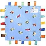 Tag, Manta Taggy azul con etiqueta multicolor para vehículos, manta Taggy – azul liso con textura en la parte inferior