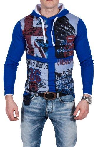 Violento Sportswear Pull à Capuche Manches Longues Motif Angleterre, Blue - Bleu - S