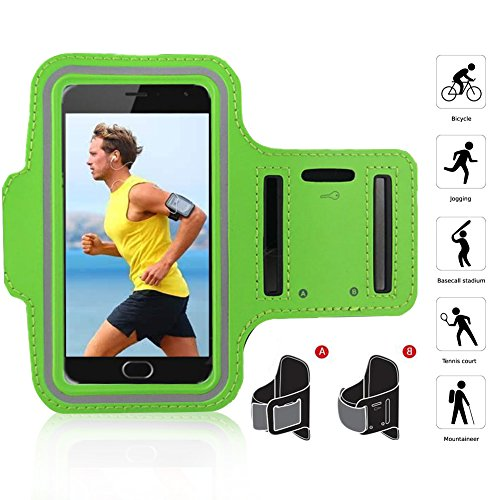 SOUNDMAE Water Resistant Sports Armband with Key Holder for iPhone 7 Plus/6S Plus, Galaxy S8/S7, LG G6/G5, Armband with Touchable Screen Protector for Running/Outdoor/Gym [4.9inch-6inch] [Purple] Green
