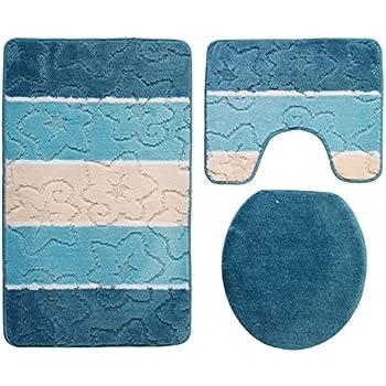 3 teilig badgarnitur petrol t rkis gestreift 100 x 60cm badset badematten badteppich stand wc. Black Bedroom Furniture Sets. Home Design Ideas