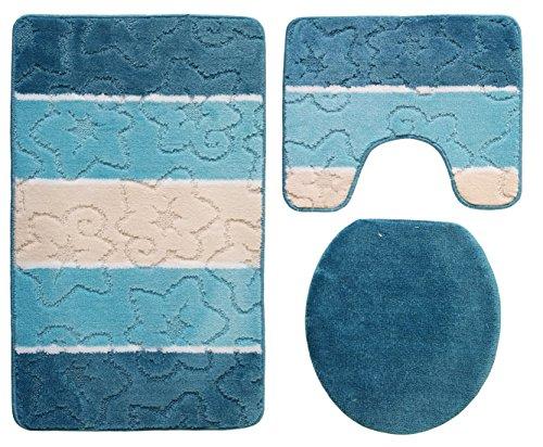 Orion Badgarnitur 3 tlg. Set 50x80 cm petrol blau türkis WC Vorleger mit Ausschnitt für Stand-WC