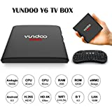 YUNDOO S905X Android 6.0 Marshmallow 4K Smart OTT Box AML S905X Quad Core 2G/32G Media Player Support HDR BT4.0 DLNA 2.4G/5G Wifi LAN Bluetooth set-top box + I8 Mini Wireless Touchpad Keyboard