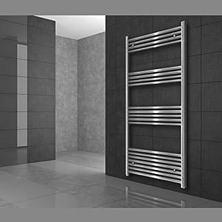 ECD Germany Radiador de baño – 300 x 800 mm – Blanco – Plano – Con conexión central – Radiator calentador y secador de toallas – Radiador calefactor de baño – Incluye kit de montaje – Estilo moderno