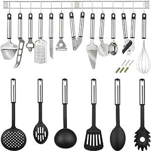Tectake set accessoires de cuisine en acier inoxydable 19 pi ces ustensiles cuisine - Ustensile de cuisine anglais ...