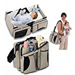 Folding Travel Cot,Multifunctional 3 in 1 Portable Nappy Changing Bag, Travel Crib, Diaper Bag| Perfect Travel Bassinets…