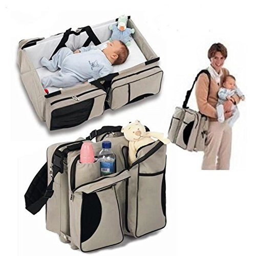 Folding Travel Cot,Multifunctional 3 in 1 Portable Nappy Changing Bag, Travel Crib, & Diaper Bag| Perfect Travel Bassinets for Babies & Travel Accessory 51B3lACH 2B5L