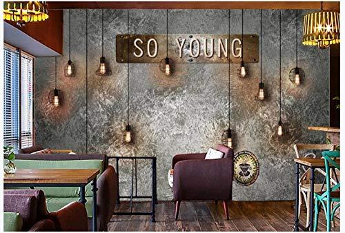Apoart 3D Wandtapete Glühlampenstange Der Retro- Weinlesezementwand, Die Hintergrundwand Versorgt 250Cmx175Cm