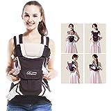 GBlife 4-en-1 Portabebés Ajustable Portadores para Infantil del Bebé Recién Nacido con Hebilla Backpack Baby Carrier(Caqui)