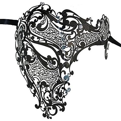 Luxus Geheimnisvolle Maske Lady Half Face Masquerade Halloween Mardi Gras Maske Laser geschnitten (Coole Purge Kostüme)