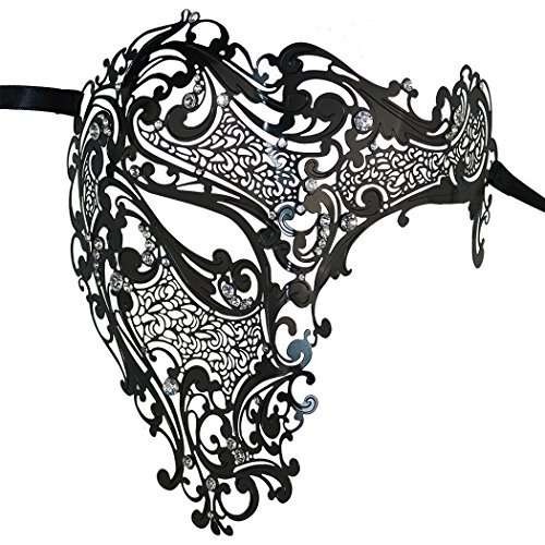Luxus Geheimnisvolle Maske Lady Half Face Masquerade Halloween Mardi Gras Maske Laser (Masque Bal Kostüme)