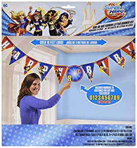 Amscan International-1216093,2m x 25cm DC Super Hero Niñas cumpleaños carta Banner