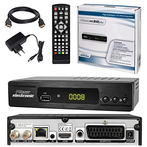 SATELLITEN SAT RECEIVER ✨ HB DIGITAL DVB-S/S2 SET: Microelectronic Micro m310 plus DVB-S/S2 Receiver + HDMI Kabel mit Ethernet Funktion und vergoldeten Anschlüssen (HD Ready, HDTV, HDMI, SCART, USB 2.0, LAN, S/PDIF und IR Ausgang)