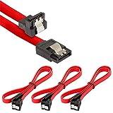 Poppstar 3 x 50cm S-ATA 3 HDD SSD Datenkabel (Stecker gerade auf gewinkelt) (bis zu 6 Gbit/s), Sata Kabel für DVD, BlueRay, Festplatte, Motherboard, PC Case Modding uvm, rot