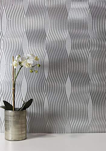 Arthouse Luxus Welle Folie Metallic Schimmer Vintage Strukturtapete - 294501 Silber