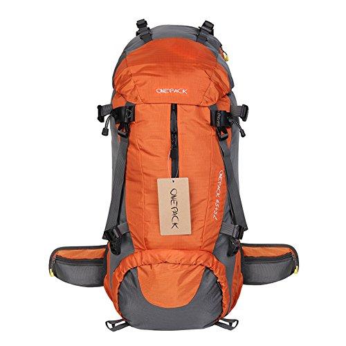 70 Liter Outdoor Trekkingrucksäcke mit Regenabdeckung, YUMOMO Herren und Damen Wasserdichter Wanderrucksäcke Camping Rucksäcke Sport für Die Reise Bergsteigen Orange