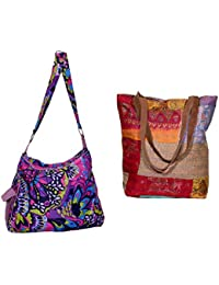 Indiweaves Combo Pack Of 1 Silk Kantha Tote Bag And 1 Cotton Shopper Bag (Pack Of 2) 82100-130246-IW-P2