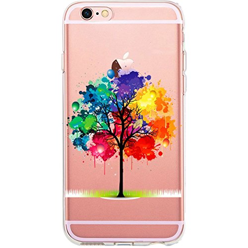 Blitz® GLAMOUR motifs housse de protection transparent TPE caricature bande iPhone Branche avec des fleurs M12 iPhone 8sPLUS Aquarelle d'arbre