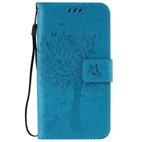 ANNN® Huawei Nexus 6P Coque PU Cuir Flip Housse Étui Cover Case(Arbre butterfly)Portefeuille Supporter avec Fonction Stand et Fentes de Carte de Crédit + Quill stylet + Pendentif poisson---A02 A07