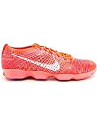 nike womens flyknit zoom fit agility running trainers 698616 sneakers shoes (us 85 bright crimson white light