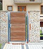 Pforte Holz Gartentor Grau Hoftor Einfahrtstor Tür Tor Törchen 125cm x 150cm