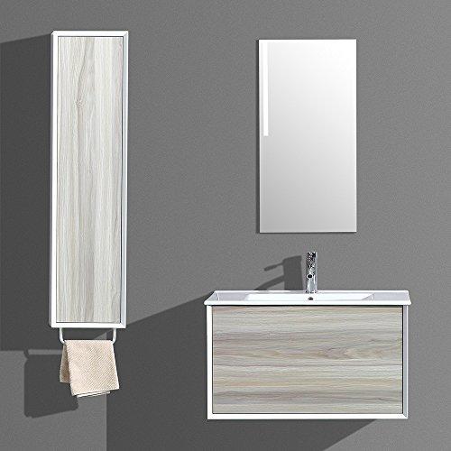 Interouge Meuble de Salle de Salle Simple Vasque avec Colonne de Rangement et Miroir LED - Bois Clair