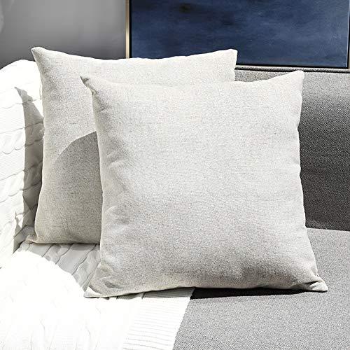 Sunfay 2er Set Dekorative Kissenbezug Baumwolle Leinen Home Décor Zierkissenbezüge für Sofa Bett Schlafzimmer Weiche Solide Kissenhülle 45 x 45 cm Beige -
