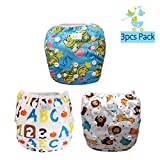 LBB One Size Reuseable Washable Adjustable Baby Swim Diapers(3pcs Pack)Fit babies 0-2 Years,Letters Frogs and Animals