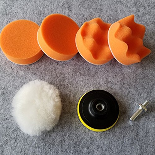 Valueu 7pcs Polier Polster verschiedene Größen Schwamm Woll Polieren Waxing Buffing Pads Kits mit M14 Bohr Adapter