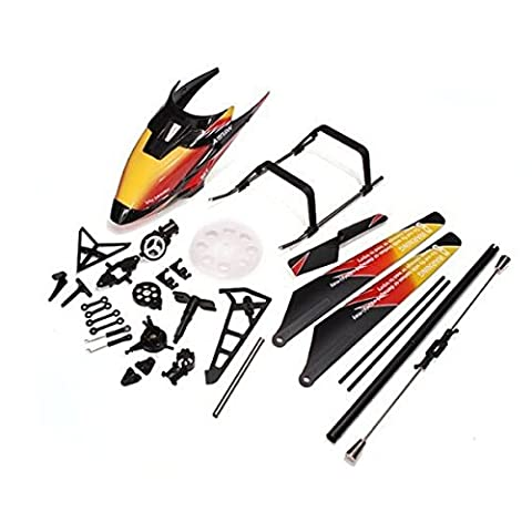 Foxnovo Replacement WLtoys V913 2.4GHz 4CH RC Helicopter Spare Parts Accessories Kit Set Canopy Blades Landing Skid Gear (Orange)