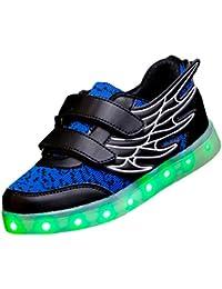 SAGUARO® unisex Kid muchacho de la muchacha de carga USB Zapatos de luz LED arriba del deporte luminoso parpadeante zapatillas de deporte corrientes con las alas