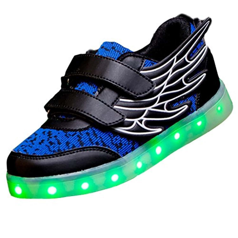 SAGUARO® Unisex Kid Boy Girl USB Charging LED Light Up Sport Shoes Luminous Flashing Running Sneakers with Wings, Black