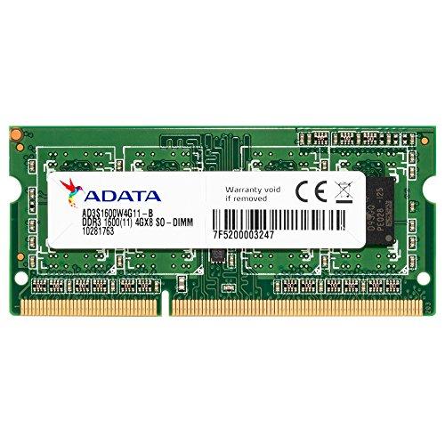 ADATA AD3S1600W4G11-R Arbeitsspeicher Premier Series 4GB (1600MHz, 204-polig, CL11, 1,5V) DDR3- SO-DIMM