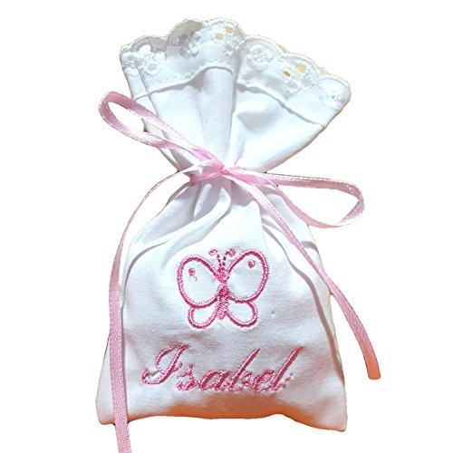 Crociedelizie, Stock 60 sacchetti bomboniere portaconfetti con ricamo nome bimbo bimba + piccolo ricamo cicogna (Rosa Piccolo Stock)
