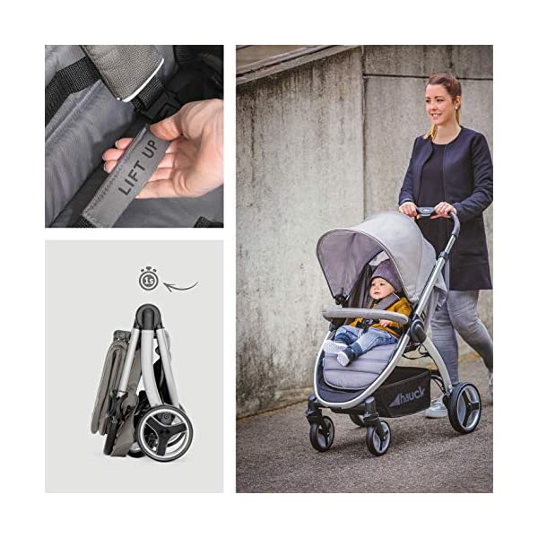 Hauck Lift Up 4, Lightweight Pushchair from Birth to 25 kg, Quick Fold with One Hand with Lying Position, Telescopic, Height-Adjustable Push Handle, Cup Holder, Charcoal Hauck EASY FOLDING - Thanks to its One-Hand-Fold mechanism, this pushchair is folded away within seconds up to a small size. This can be easily transported by the carry strap, leaving one hand free for your little one LONG USE - This buggy can be used over a long period of time as it is suitable from birth thanks to lying position and up to 25 kg. It can also be combined with the hauck Comfort Fix infant car seat + adaptors or hauck 2in1 Carrycot COMFORTABLE - Thanks to backrest and footrest beign adjustable into lying position which is suitable for bigger children, too, as well as large sun hood with UV protection and height-adjustable, telescopic push handle 7