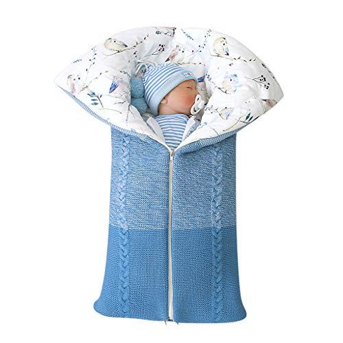 Livoral Winter Neugeborenes Baby Warme Cartoon Knitt Swaddle Mit Kapuze Kinderwagen Wrap Schlafsack(B-Blau,0-24 Monate)