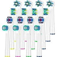 Qlebao Ricambi Spazzolini Elettrici Oral b, Multipack 4 x 4, 3D Whitening, Precision Clean, Pulizia Profonda, ActionCross, 16 Pezzi, Pienamente Compatibile con Braun Oral b