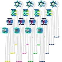 Qlebao16er Aufsteckbürsten Kompatibel mit Oral B Elektrische zahnbürste, 4er 3D Whitening, 4er Precision Clean, 4er Tiefenreinigung, 4er CrossActivily Aufsätze, Kompatibel mit Braun Oral&b Zahnbürsten