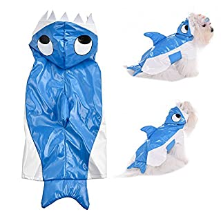 Awhao Pet Dog Raincoat Shark Style Costume Halloween Christmas Clothes Wind Coat for Cat S