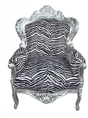 Barock Sessel King Zebra/Silber - Antik Stil Möbel