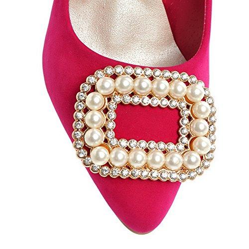AllhqFashion Femme à Talon Haut Dépolissement Mosaïque Tire Pointu Chaussures Légeres Cramoisi
