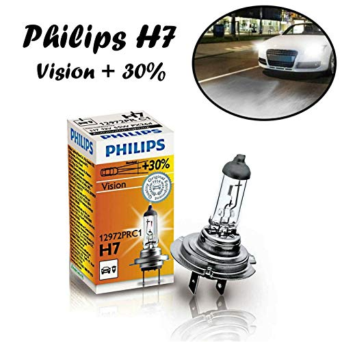 1x Philips Vision +30{092e9f6b8bcfe472fe17ce221a54c3021845941bdade4117f5dc32e74f0dfa98} H7 55W 12V 12972PRC1 Original Klar Weiß Long Life High Tech Ersatz Halogen Birne für Scheinwerfer, Fernlicht, Nebelleuchte vorne - E-geprüft