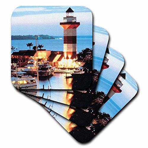 3drose-cst-61725-3-harbour-town-lighthouse-at-hilton-head-island-at-dusk-ceramic-tile-coasters-set-o
